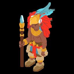 Hombre azteca guerrero isométrico