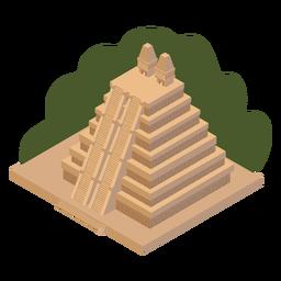 Pirámide azteca verde isométrica.