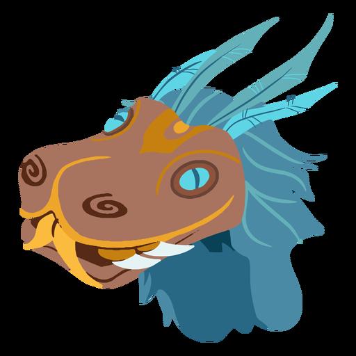 Aztec quetzalcoatl head isometric