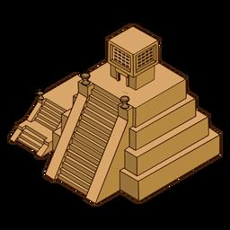 Isométrico del templo azteca