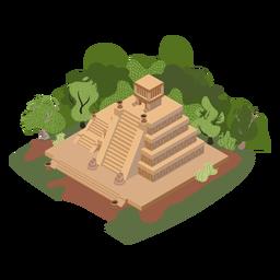 Árboles del templo azteca isométrico
