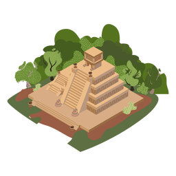 Aztec temple trees isometric