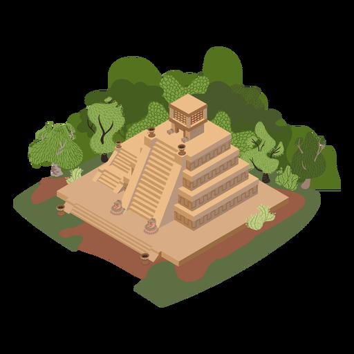 Aztec temple trees isometric