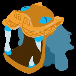 Capacete asteca de dragão de guerra isométrico