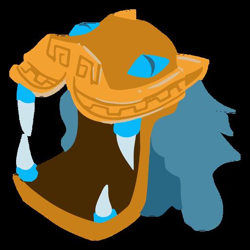 Aztec war dragon helmet isometric