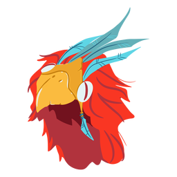 Aztec war helmet bird isometric