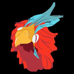 Casco de guerra azteca pájaro isométrico
