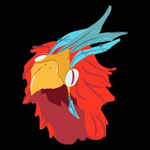 Aztec war helmet bird isometric