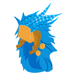 Casco de guerra azteca plumas isométricas