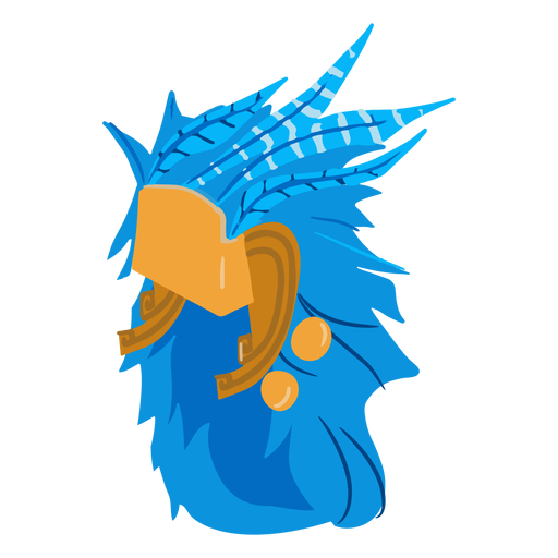 Aztec war helmet feathers isometric