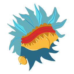 Casco de guerra azteca pequeño isométrico