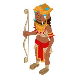 Aztec warrior bow arrow isometric