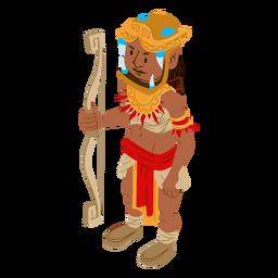 Guerrero azteca arco flecha isométrica