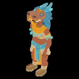 Aztec woman masked isometric