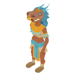 Mujer azteca enmascarada isométrica
