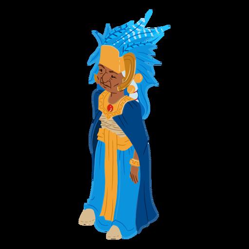 Isométrica de color antiguo mujer azteca