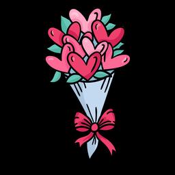 Doodle bouquet de namorados desenhado à mão