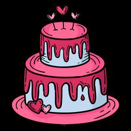 Doodle dos namorados bolo mão desenhada