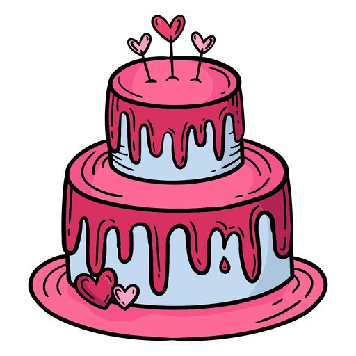 Doodle valentine cake hand drawn