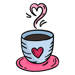 Dibujado a mano doodle San Valentín café
