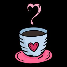 Doodle café dos namorados mão desenhada