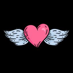 Doodle dia dos namorados voando com coração desenhado à mão