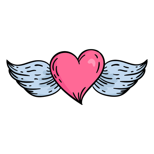 Dibujado a mano doodle san valentín corazón volador