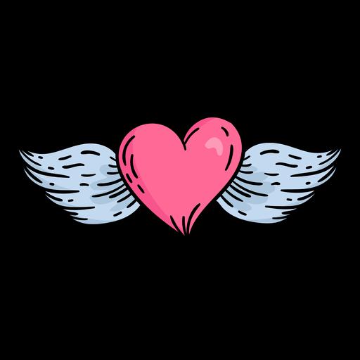 Doodle valentine flying heart hand drawn Transparent PNG