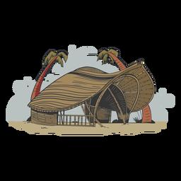 Dibujado a mano eco edificio playa