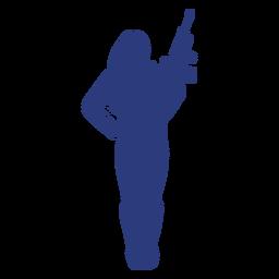Silueta de facilidad frontal de rifle de niña