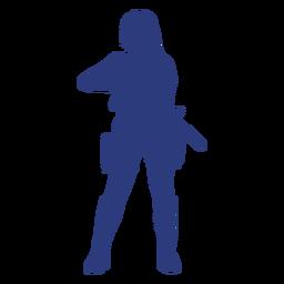 Silueta de frente de rifle de niña