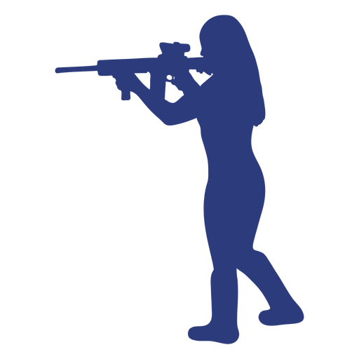 Girl rifle left facing aiming silhouette