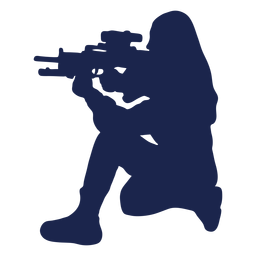 Girl rifle left facing ducking aiming silhouette