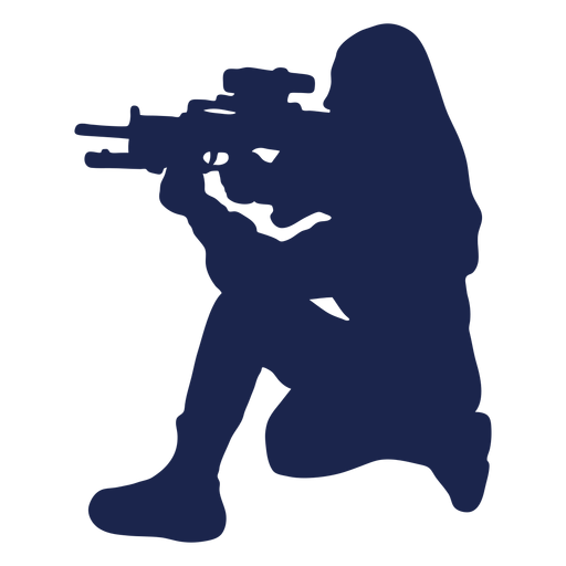 Girl rifle left facing ducking aiming silhouette Transparent PNG