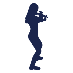 Girl rifle right facing aiming silhouette