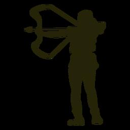 Cazador arco hacia la izquierda apuntando silueta
