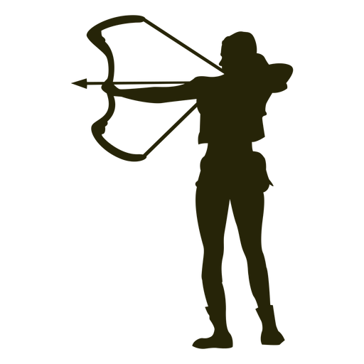 Hunter bow left facing aiming silhouette