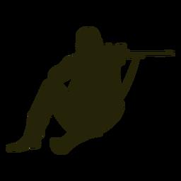 Cazador pistola apuntando silueta frontal