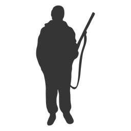 Frente de arma de caçador na silhueta de facilidade