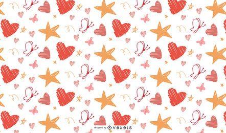 Butterartiger Liebe und Stern patern Vektor