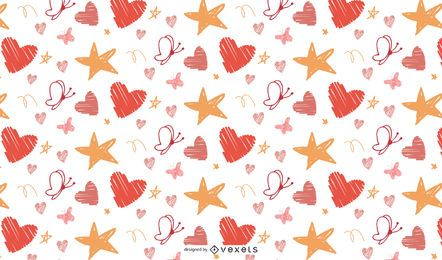 Butterly hearts and star patern vector