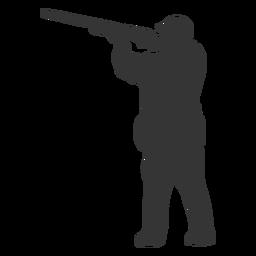 Pistola de cazador hacia la izquierda apuntando silueta