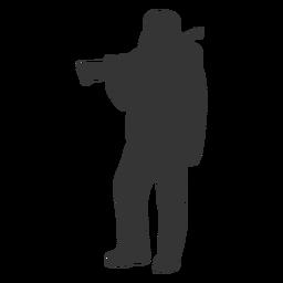 Cazador arma izquierda frente a la silueta en reposo
