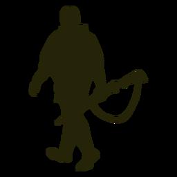 Caçador arma esquerda enfrentando silhueta curta