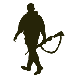 Hunter gun left facing walking silhouette