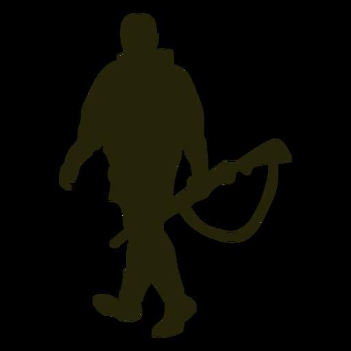 Hunter gun left facing walking silhouette