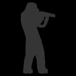 Cazador pistola apuntando hacia la derecha silueta