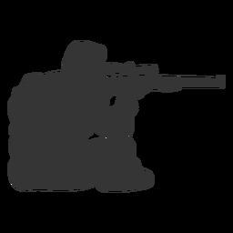 Cazador pistola apuntando silueta