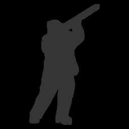 Pistola cazadora derecha mirando hacia el cielo silueta