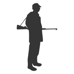 Hunter gun right facing ease silhouette